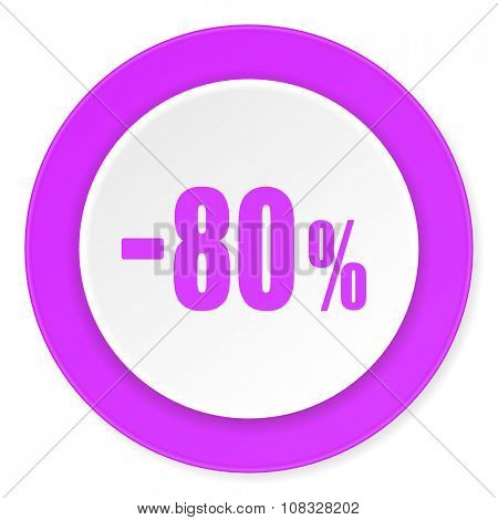 80 percent sale retail violet pink circle 3d modern flat design icon on white background