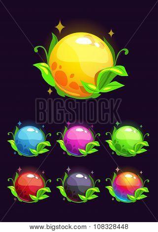 Beautiful colorful shiny nature elements