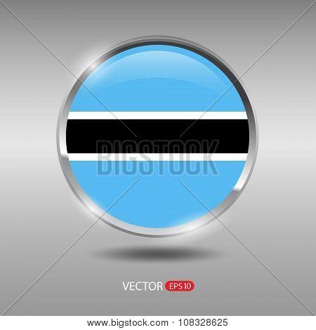 Shiny, glossy vector badge with Botswana flag