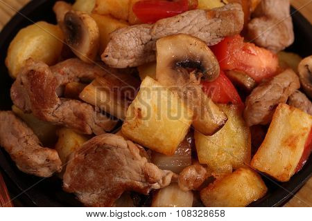 Roast With A Potato, Meat And Mushrooms