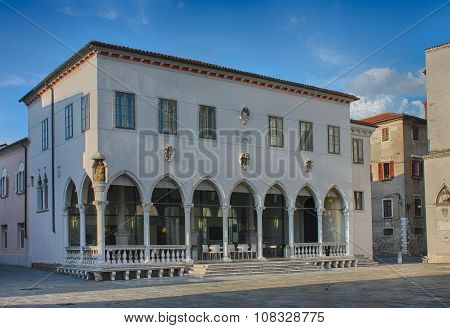 Gothic Loggia In Main Square In Koper In Slovenia