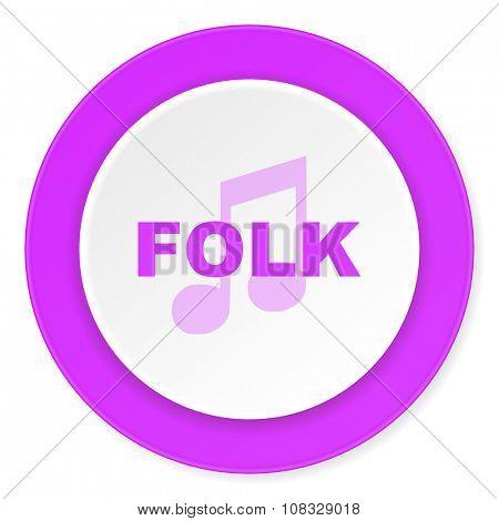 folk music violet pink circle 3d modern flat design icon on white background