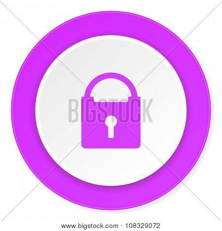 padlock violet pink circle 3d modern flat design icon on white background