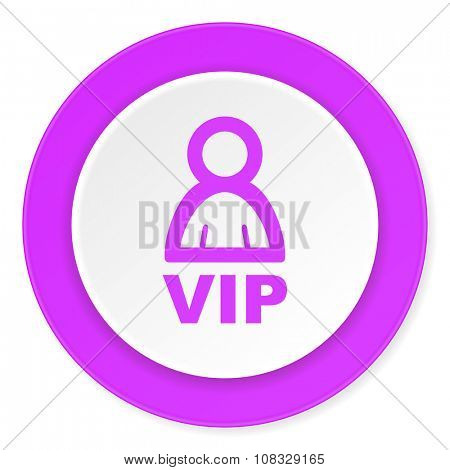 vip violet pink circle 3d modern flat design icon on white background