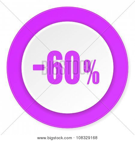 60 percent sale retail violet pink circle 3d modern flat design icon on white background