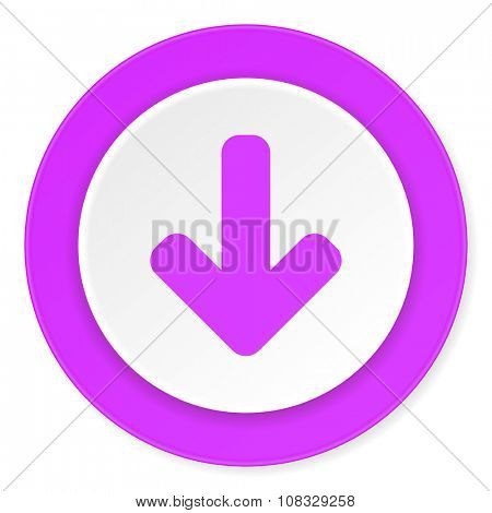 download arrow violet pink circle 3d modern flat design icon on white background