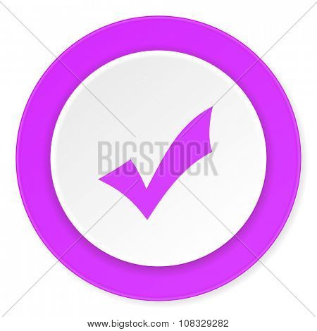 accept violet pink circle 3d modern flat design icon on white background