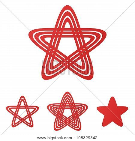 Red star loop logo design set