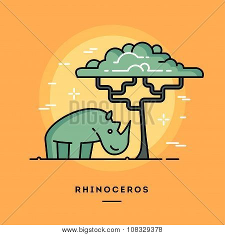 Cute Rhino And A Tree, Line Flat Design Banner