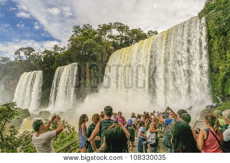 People At Iguazu Park Waterfalls Landscape