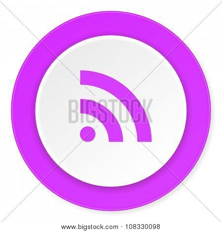 rss violet pink circle 3d modern flat design icon on white background