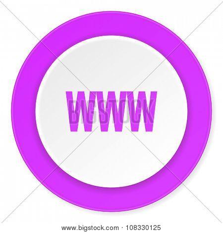 www violet pink circle 3d modern flat design icon on white background