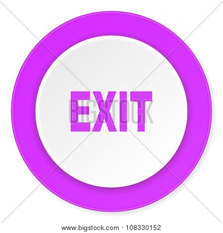 exit violet pink circle 3d modern flat design icon on white background