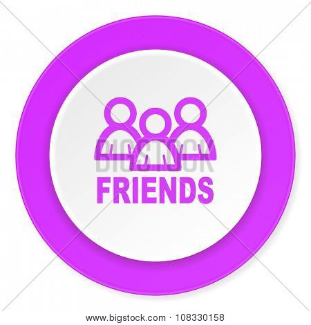 friends violet pink circle 3d modern flat design icon on white background