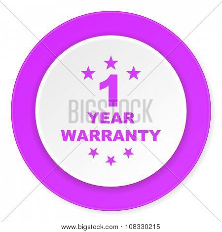 warranty guarantee 1 year violet pink circle 3d modern flat design icon on white background