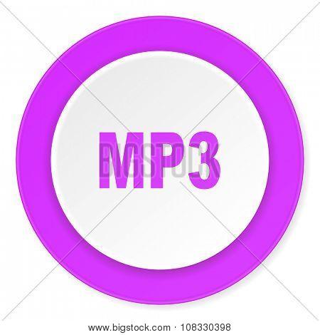 mp3 violet pink circle 3d modern flat design icon on white background