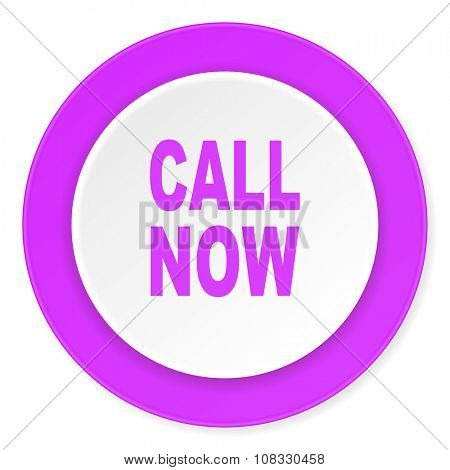 call now violet pink circle 3d modern flat design icon on white background
