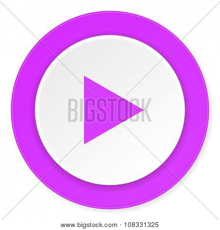 play violet pink circle 3d modern flat design icon on white background