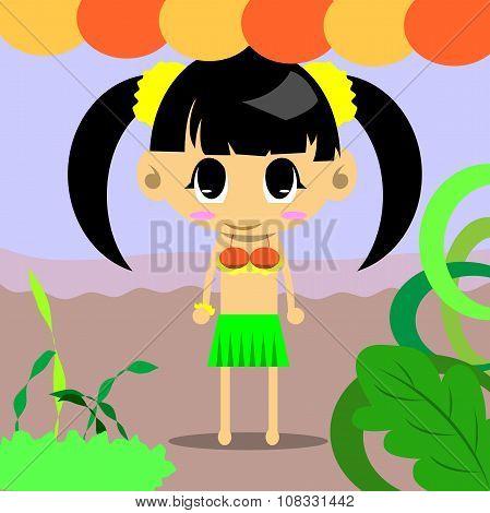 Cute Girl Hulahula Of Vector