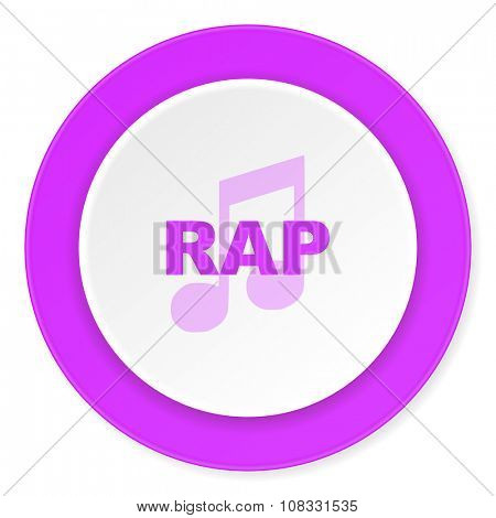 rap music violet pink circle 3d modern flat design icon on white background