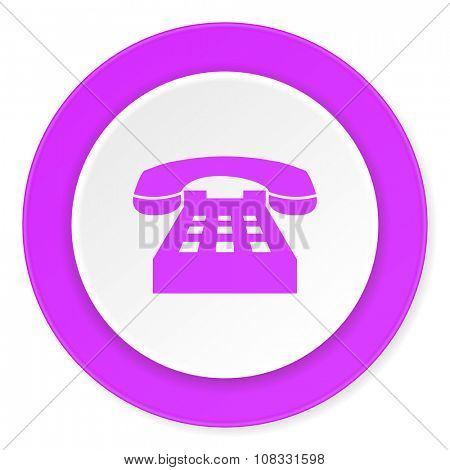 phone violet pink circle 3d modern flat design icon on white background