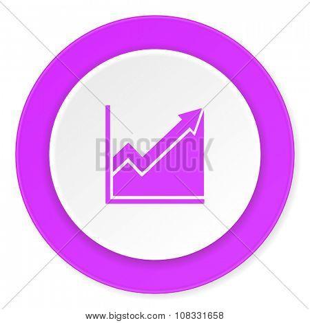 histogram violet pink circle 3d modern flat design icon on white background