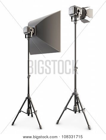 Studio Lighting Isolated On The White Background. 3D.