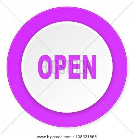 open violet pink circle 3d modern flat design icon on white background