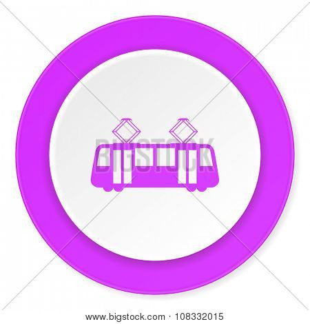 tram violet pink circle 3d modern flat design icon on white background