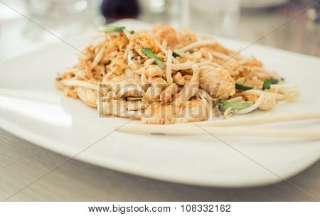 Food From Thailand. Close Up On Pad Thai