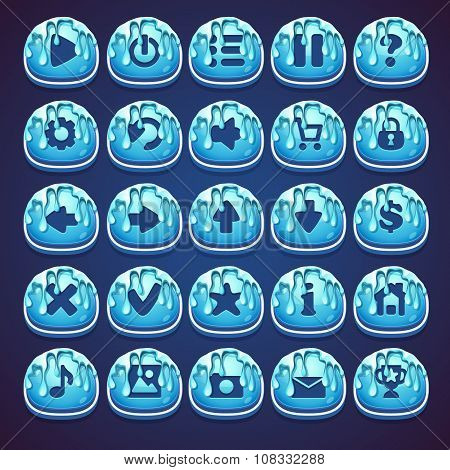 Set Blue Buttons For Web Video Game In Style Marmalade
