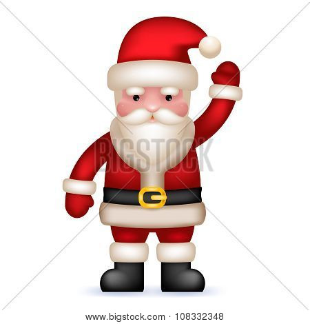Cartoon Santa Claus Toy Character Waving Hand Isolated Icon Vector Illustration