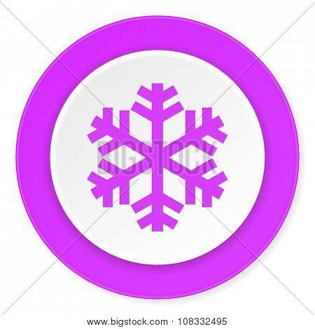 snow violet pink circle 3d modern flat design icon on white background