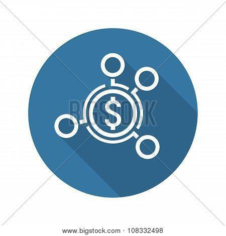 Money Distribution Icon. Flat Design.