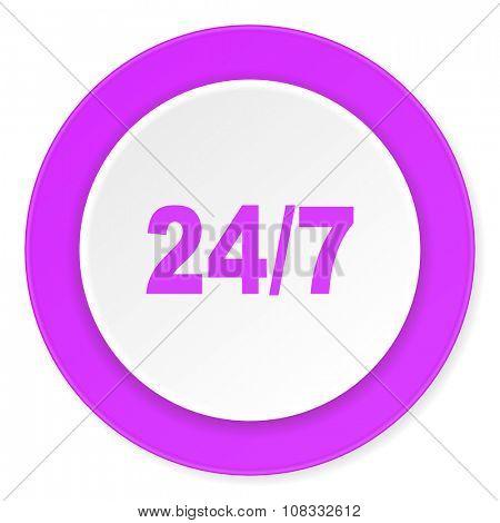 24/7 violet pink circle 3d modern flat design icon on white background