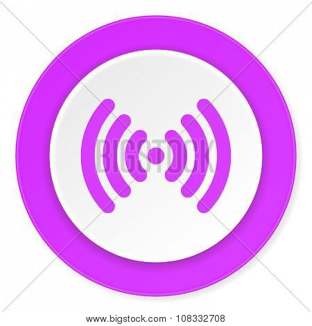wifi violet pink circle 3d modern flat design icon on white background