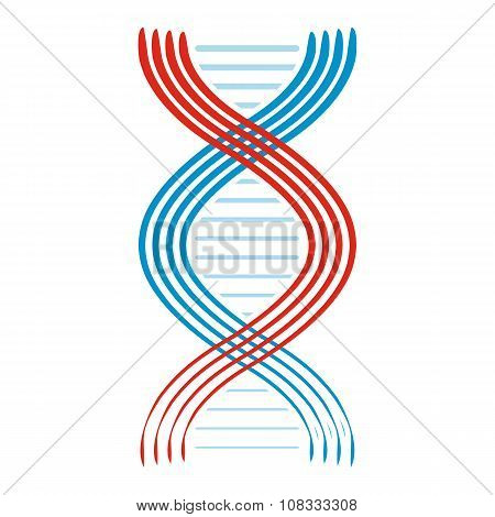 Flat DNA and molecule icon