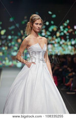 ZAGREB, CROATIA - OCTOBER 31, 2015: Fashion model wearing clothes designed by Boris Banovic on the 'Fashion.hr' fashion show