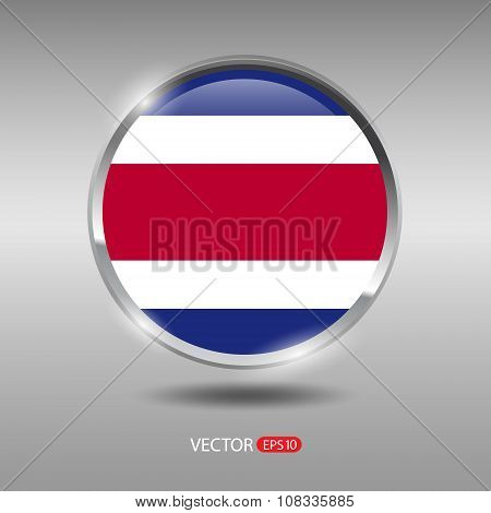 Shiny, glossy vector badge with Costa Rica flag