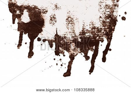 Brown sepia ink abstract dripping shape isolated on white background