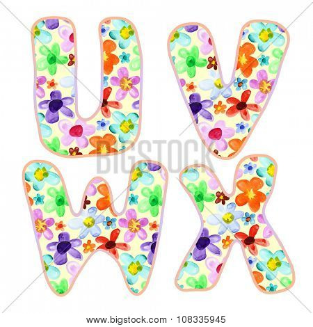 Alphabet with colorful watercolor flower pattern. Letters U, V, W, X