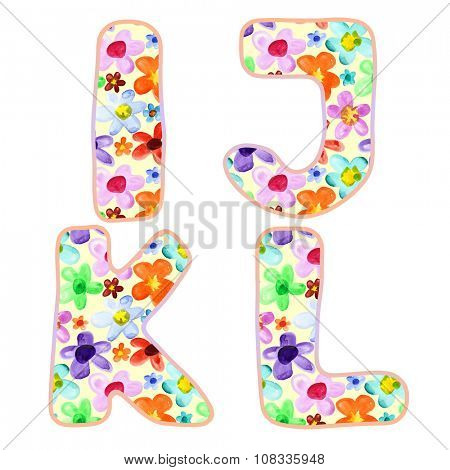 Alphabet with colorful watercolor flower pattern. Letters I, J, K, L