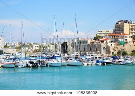 Boats and yachts in Heraklion port, Crete, Greece