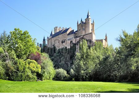 Picturesque view of Castle of Segovia (Alcazar), Spain