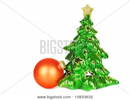 Christmas Tree And Orange Ball