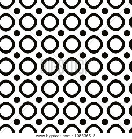 Polka Dot Seamless Pattern With Geometric Figures, Black And White Infinite Background With Dots