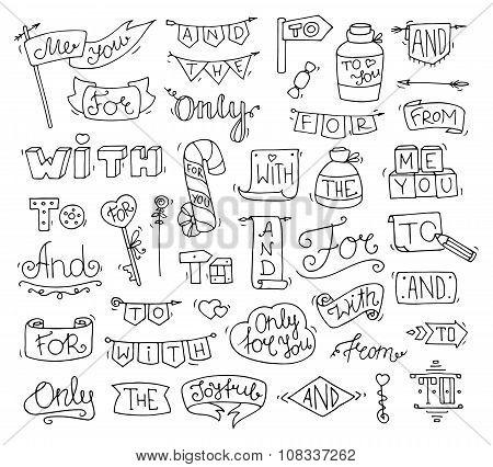 Doodle Calligraphic Funny Catchwords For Romantic Design