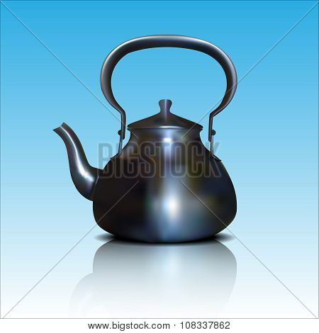 Kettle on a blue background