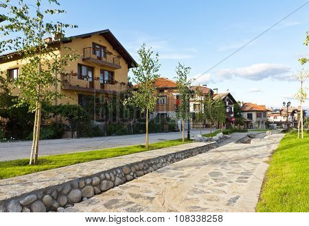 Houses and stone paved road, Bansko, Bulgaria