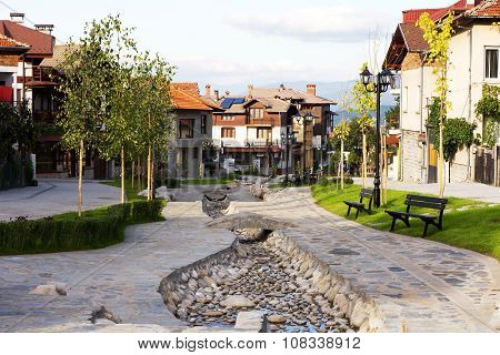Street view and stone paved road, Bansko, Bulgaria